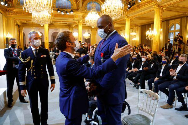 Teddy Riner reçu par Emmanuel Macron (13-09-2021)