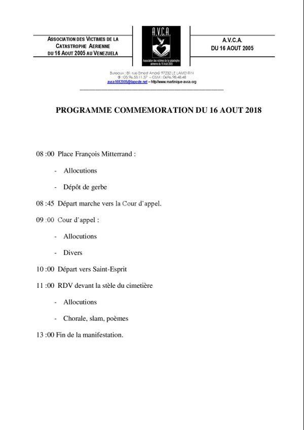 Programme du 16 août 2018