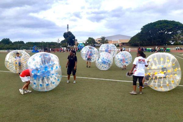 Fête du sport 2020 au Mont-Dore, foot bulles