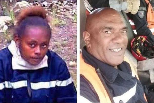 Elodie Mapéri et Bertrand Pimé. Pompiers décédés