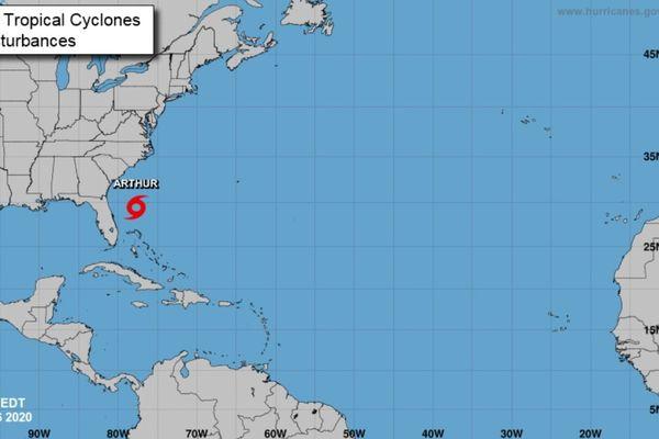 Carte de la tempête Arthur