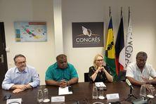 Conférence de presse commune pour Philippe Dunoyer, Pierre Chanel Tutugoro, Virginie Ruffenach et Jean-Pierre Djaiwe.
