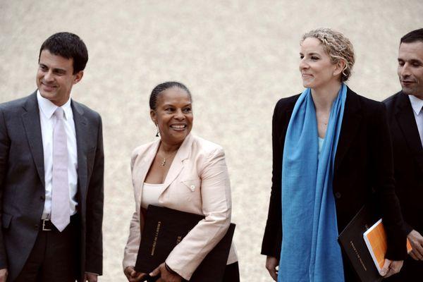Le 17 mai 2012 : Manuel Valls (Intérieur), Christiane Taubira (Justice), Delphine Batho (déléguée à la Justice) et Benoît Hamon (délégué à l'Economie sociale et solidaire) à la sortie du premier conseil des ministres du gouvernement Ayrault 1.