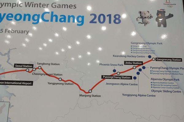 Pyeongchang : carte ferroviaire des villes et sites olympiques