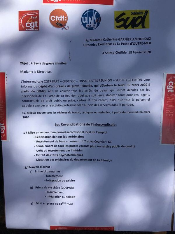 Revendication des grévistes à La Poste de La Réunion 5 mars 2020