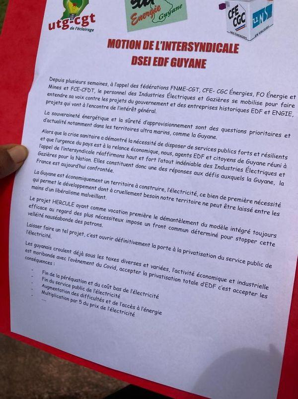 Motion de l'intersyndicale EDF Guyane contre le projet Hercule