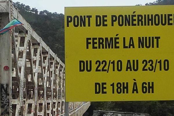 Pont de Ponérihouen fermée temporairement