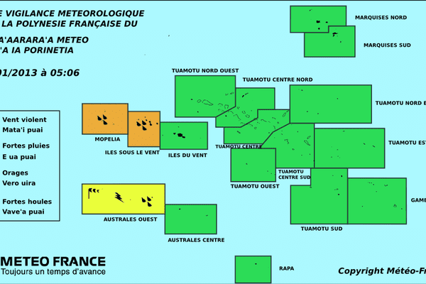 carte de Météo France Polynésie le 18.01.2013