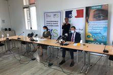 Valérie Denux, directrice de l'Agence régionale de Santé, et Alexandre Rochatte, préfet de Guadeloupe, le 01/10/2021.
