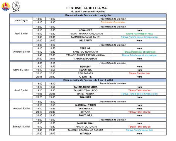programme festival Tahiti Ti'a mai