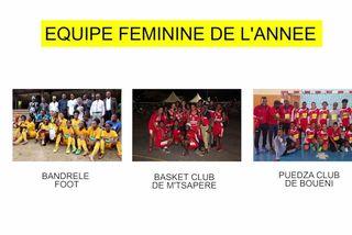 Nominée équipe féminine 2018 : Bandrélé Foot & Basket Club de M'Tsapéré & Puedza Club de Bouéni