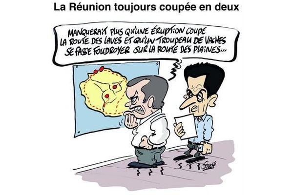 Le dessin de Souch - Réunion coupée en deux