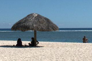 Sur la plage de l'île Maurice