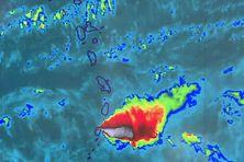 Image satellite Météo France du panache de cendres.