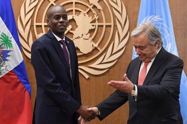 Jovenel Moïse, le président d'Haïti avec Antonio Guterres, sécretaire général des Nations Unies