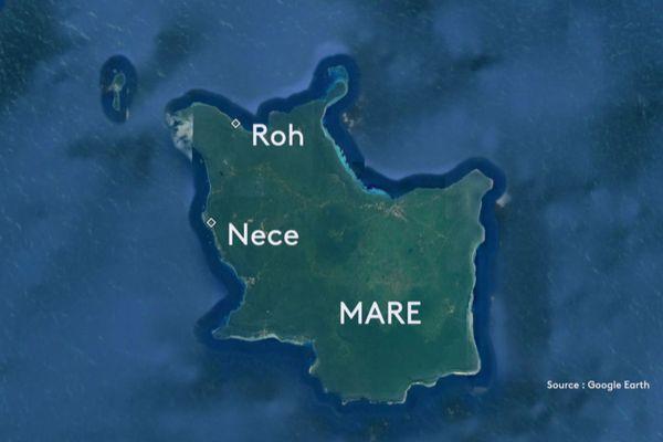 Carte satellite de Maré avec Roh et Nece