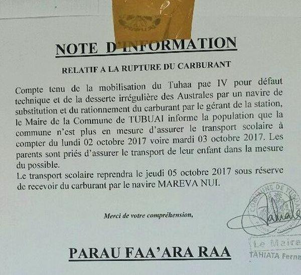 Note d'info du maire de Tubuai