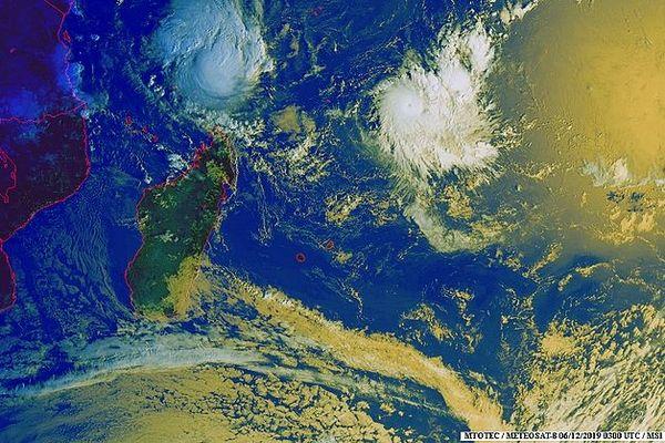 Carte satellite de l'océan Indien