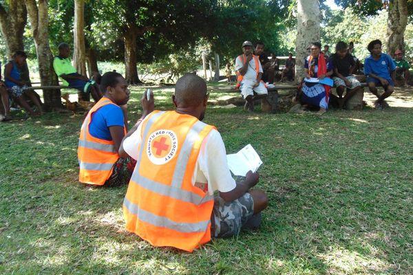 Centre d'évacuation de Lemus, sur l'île d'Ambae (septembre 2017)