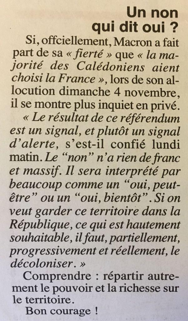 Extrait du Canard enchaîné, référendum, Macron