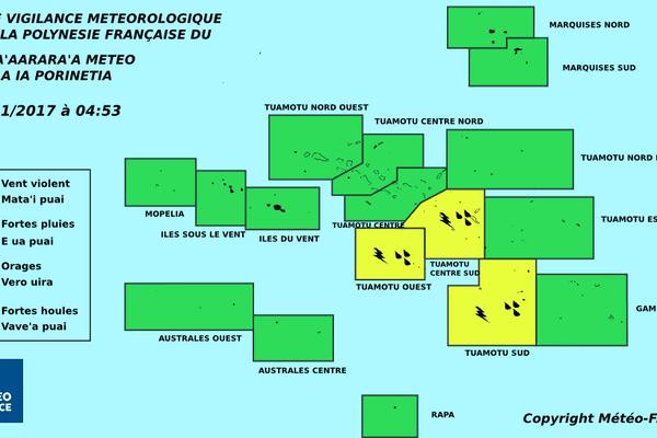 Vigilance orages et fortes pluies aux Tuamotu