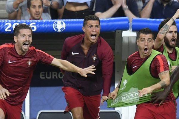 La joie de Cristiano Ronaldo, l'attaquant star de l'équipe du Portugal