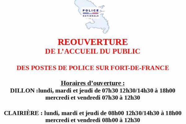 Police nationale / horaires Dillon et Clairière