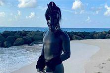 Horsey, la dernière licorne noire profite de la plage à Barbade.