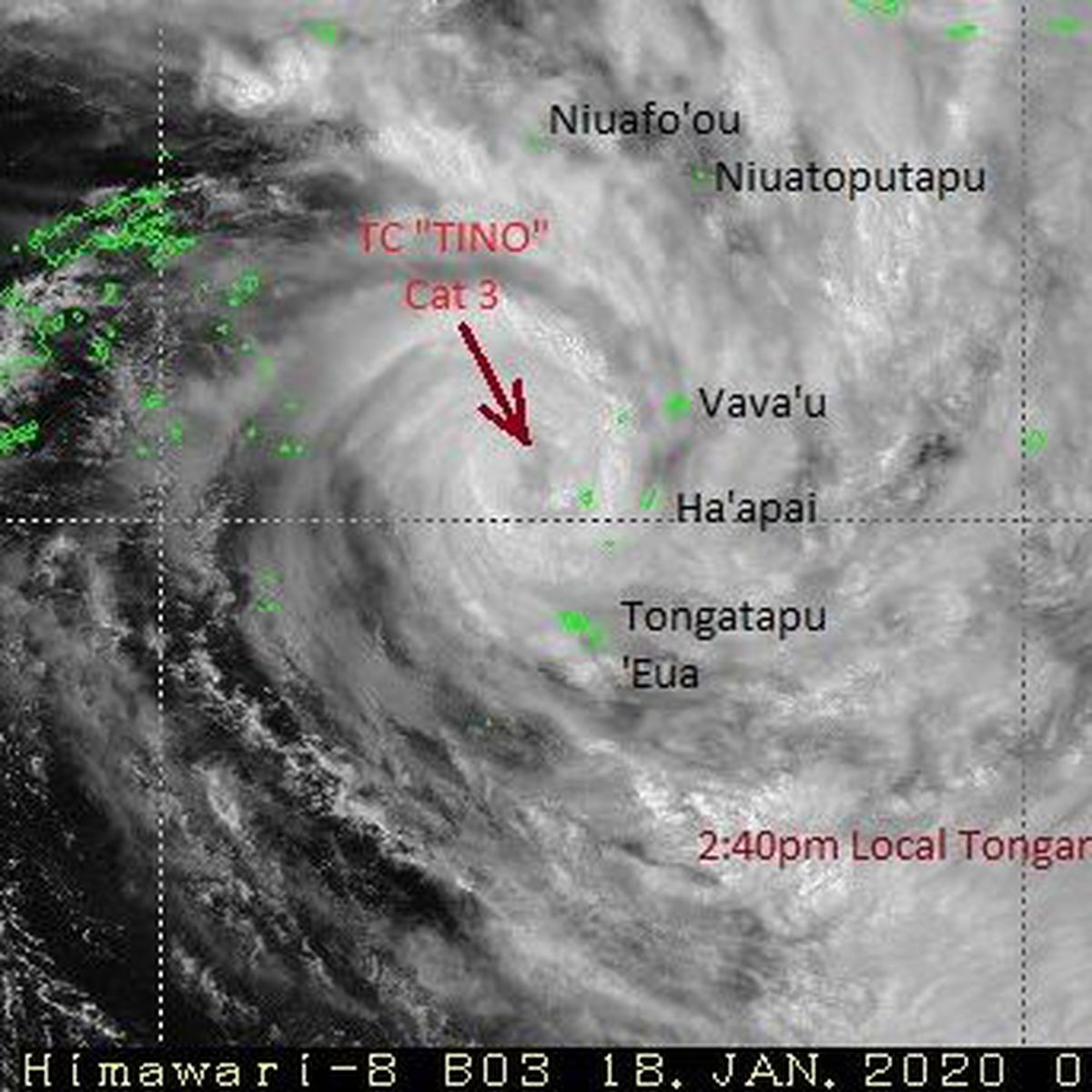 Tonga sous la menace de Tino, cyclone de catégorie 3