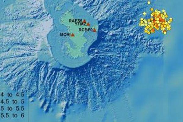 Carte des séismes de Mayotte