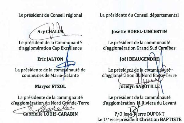 Les signataires de l'accord