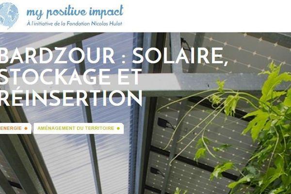 """Capture d'écran du projet Bardzour en ligne pour le concours """"my positive impact"""""""