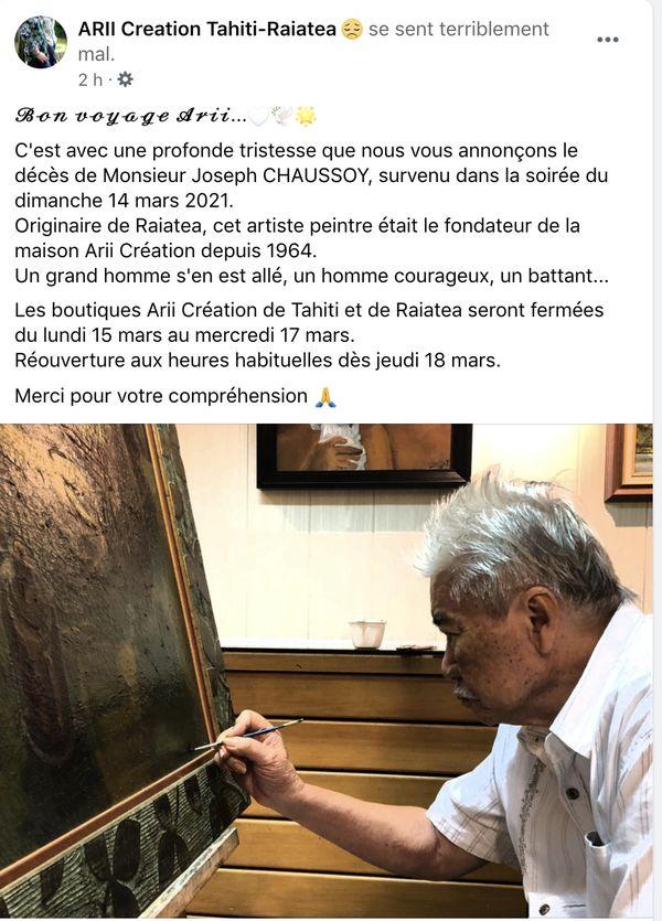 décès artiste joseph chaussoy