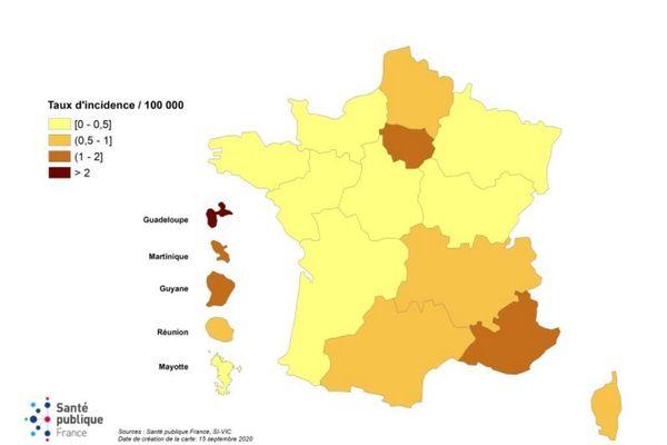 Evolution du taux hebdomadaire d'admissions en réanimation pour covid-19 pour 100 000 habitants par région