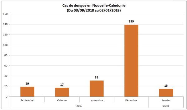 Graphique des cas de dengue du 23 septembre 2018 à début janvier 2019