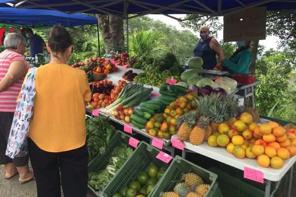 Marché de Farino. Etal fruits et légumes