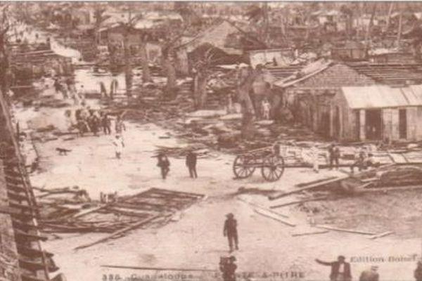 Pointe-à-Pitre dévastée par le cyclone de 1928.