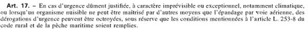 Article 17 relatif aux épandages aériens
