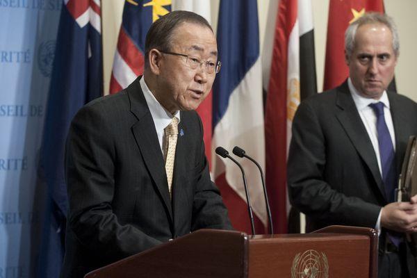 Ban Ki-Moon, le secrétaire général des nations unies en Haïti le 10 octobre dernier
