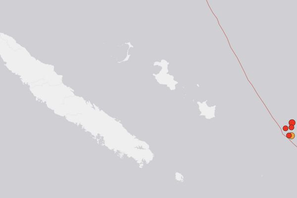 Localisation des cinq secousses enregistrées entre 11h28 et 12h38 le mardi 16 octobre 2018.