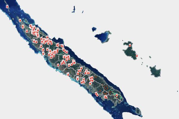 Sur le portail Vulcain, la carte des surfaces potentiellement impactées par les feux depuis le 15 septembre.