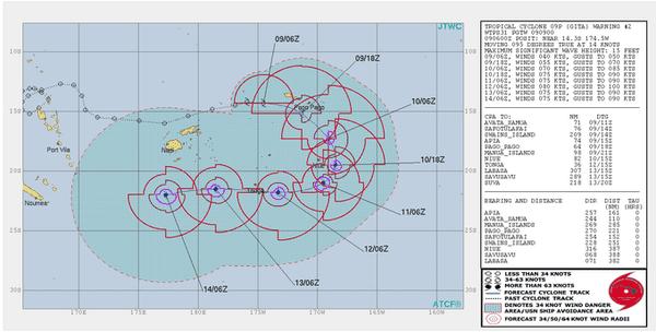 Gita poursuit sa route dans le Pacifique sud