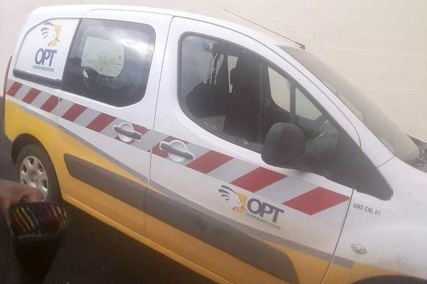 Véhicule de la poste mobile vandalisé, Canala, janvier 2021