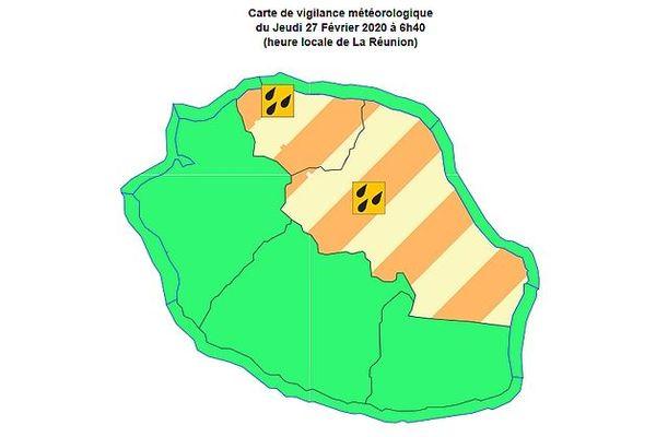 Carte de vigilance fortes pluies sur le Nord et l'Est 27 02 2020