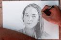 Le visage d'Hinarere, crayonné par un jeune artiste du fenua