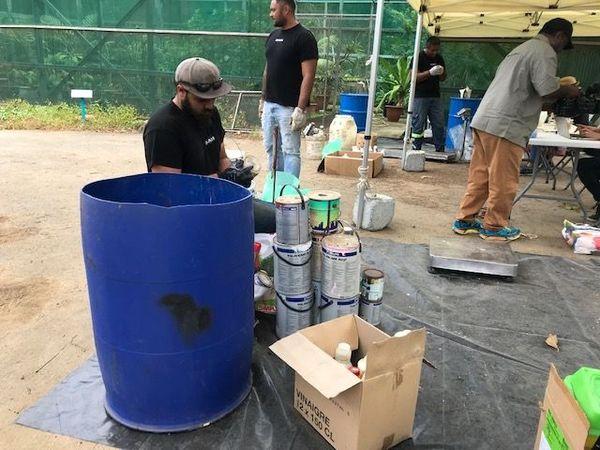 Collecte des déchets dangereux à la pépinière de Nouméa, 23 novembre 2019
