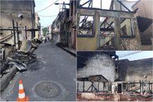 Les ruines des incendies perpétrés par des bandes organisées dans la nuit du du 18 au 19 juillet 2021, aux quartier Terres-Sainvilles à Fort-de-France.