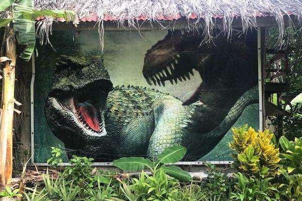 Exposition sur les dinosaures à Moorea