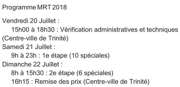 Programme du Martinique Rallye Tour