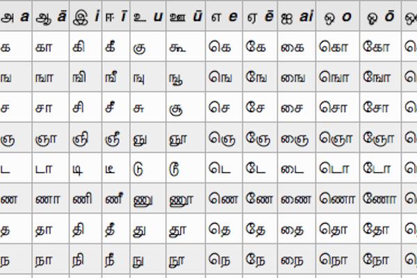 Extrait tableau langue tamoul